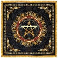 """А050  Покрывало для алтаря """"Звезда магов"""" фон абстракция, парча+бахрома+бархат, 100х100 см."""